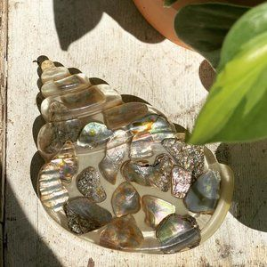 Vintage Resin Abalone Seashell Spoon Rest MCM